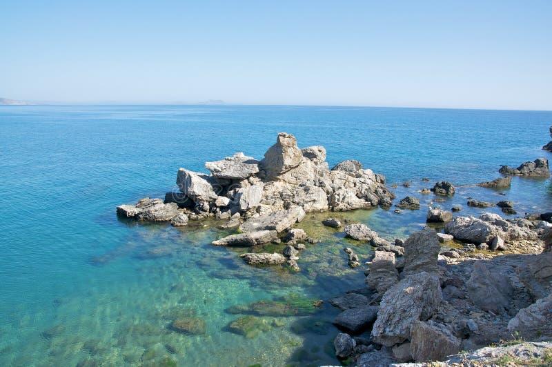 Het strand van Preveli, Kreta royalty-vrije stock afbeeldingen