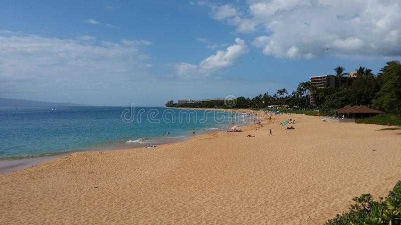 Het Strand van Puamana, Maui royalty-vrije stock afbeeldingen