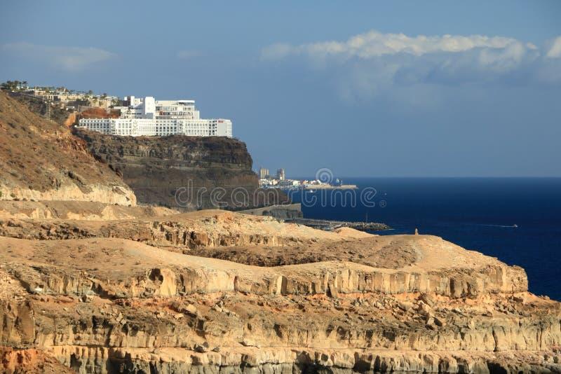Het strand van Puerto Rico en amadores in Gran Canaria royalty-vrije stock afbeeldingen