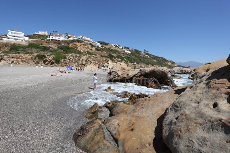 Het strand van Puntachullera, Spanje stock fotografie
