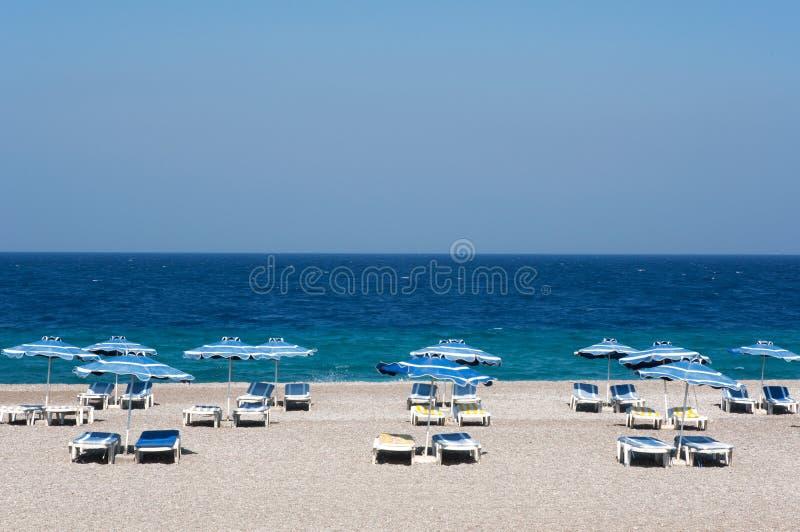 Het strand van Rhodos royalty-vrije stock foto's