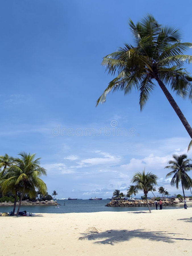 Het Strand van Siloso, Eiland Sentosa royalty-vrije stock foto