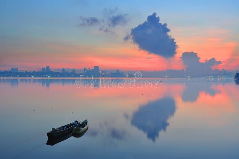 Het strand van Singapore Kranji met erachter horizon royalty-vrije stock foto's