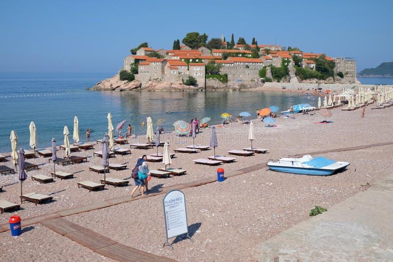 Het strand van Svetistefan in Montenegro royalty-vrije stock foto's