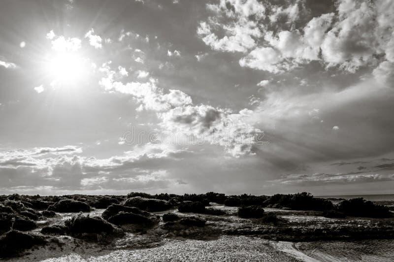 Het strand van Torrepozzelle en zijn baai bij zonsondergang in Ostuni Salento Italië royalty-vrije stock foto