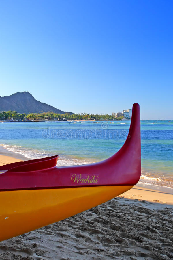 Het Strand van Waikiki, Honolulu, Oahu, Hawaï stock foto