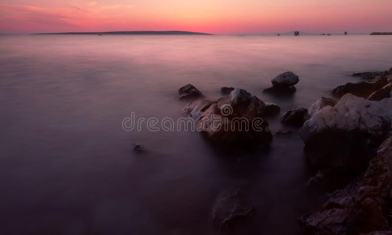 Het Strand van zonsopgangkroatië met Pastelkleuren royalty-vrije stock afbeeldingen