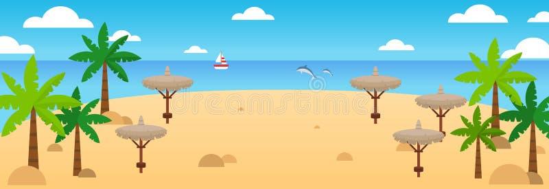 Het strandachtergrond van de zomer De vectorbanner van de de zomerreis met golven, palm, stroparaplu's, zeilschip, dolfijnen, wol royalty-vrije illustratie