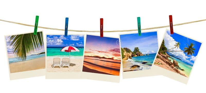 Het strandfotografie van de vakantie op wasknijpers royalty-vrije stock fotografie