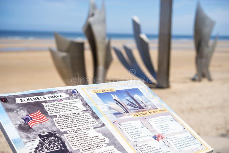 Het strandgedenkteken van Omaha, Normandië Frankrijk stock fotografie