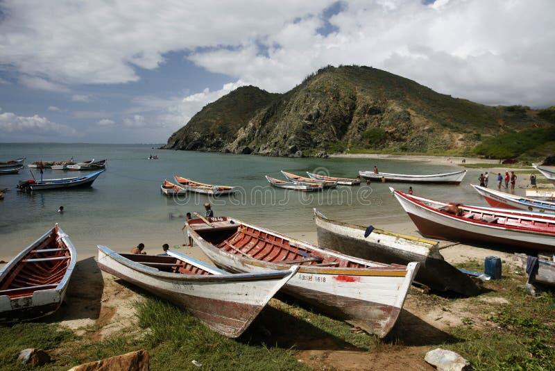 HET STRANDkust VAN VENEZUELA ISLA MARGATITA PAMPATAR VAN ZUID-AMERIKA stock afbeeldingen