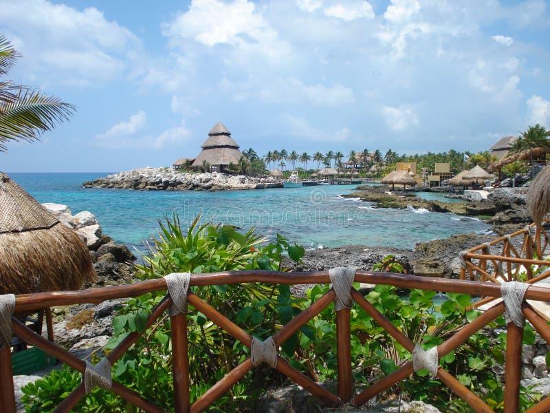 Het strandlandschap van Mexico stock foto's