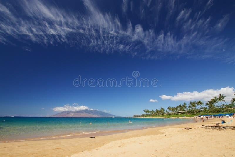Het strandleven bij Mokapu-Strandpark stock foto's
