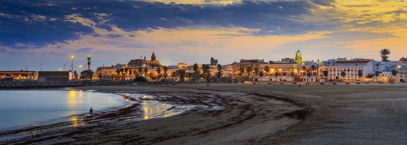 Het Strandpanorama Cadiz Spanje van Gr Rompidillo royalty-vrije stock afbeeldingen