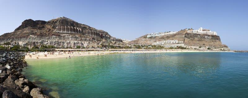 Het strandpanorama van Amadores, Gran Canaria stock foto