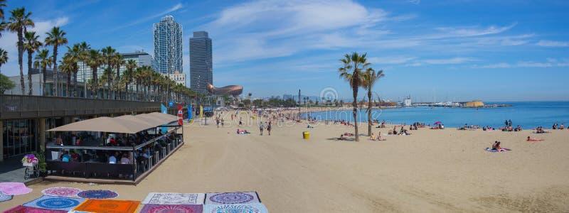 Het Strandpanorama van Barcelona stock foto's