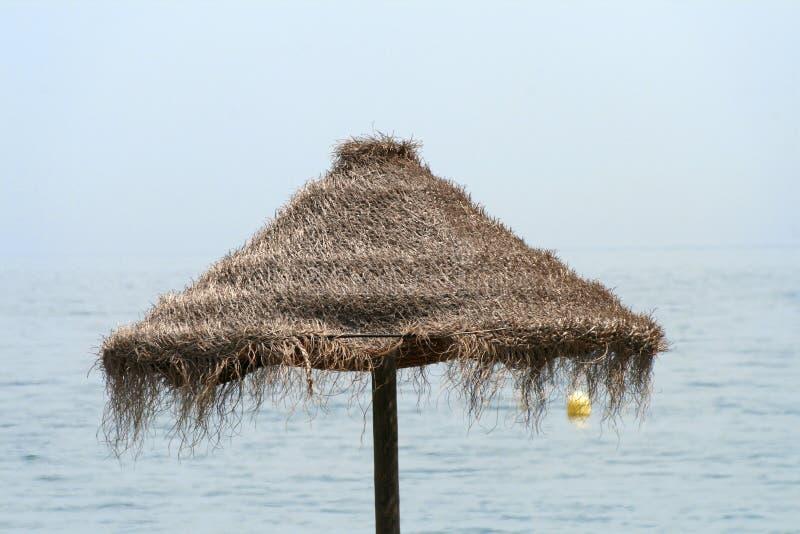 Het strandparaplu van het stro stock afbeelding