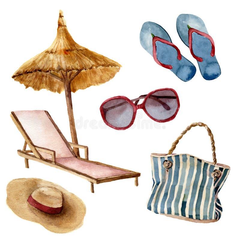 Het strandreeks van de waterverfzomer De hand schilderde de voorwerpen van de de zomervakantie: zonnebril, strandparaplu, ligstoe stock illustratie