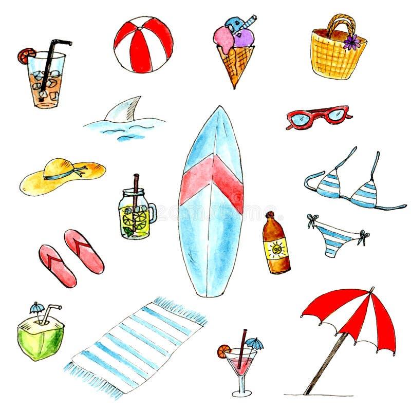 Het strandreeks van de waterverfzomer De zomervakantie, die een rust op het strand hebben stock illustratie