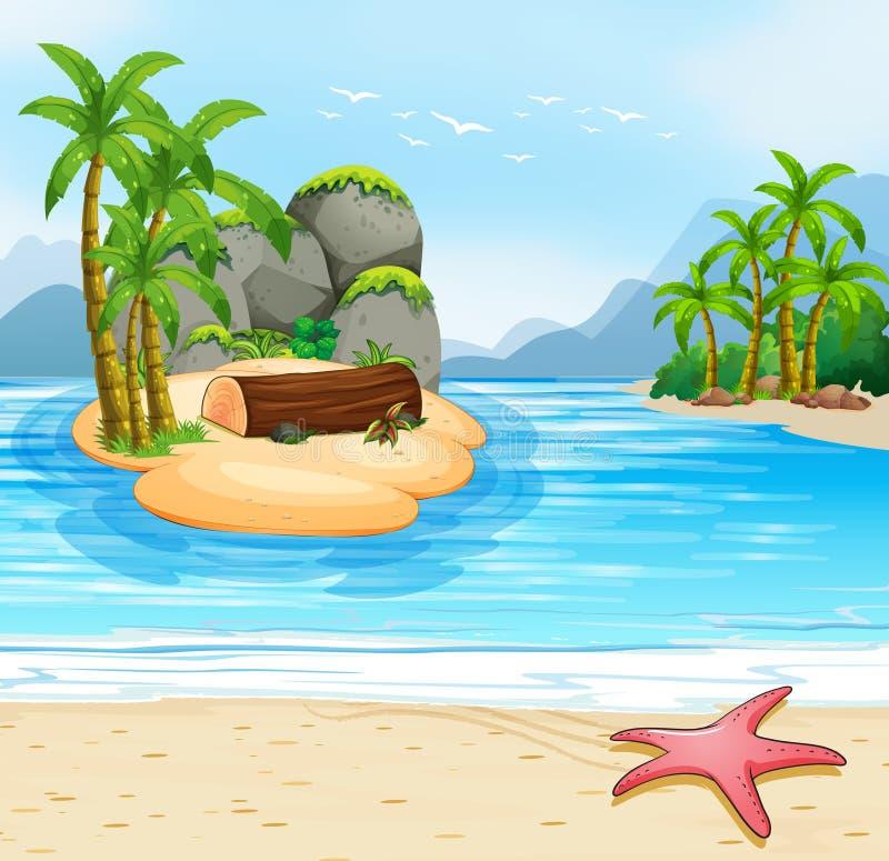 Het strandscène van het de zomereiland stock illustratie