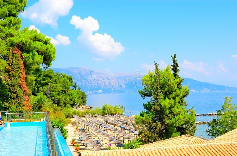 Het Strandtoevlucht van Korfu, Griekenland royalty-vrije stock afbeeldingen