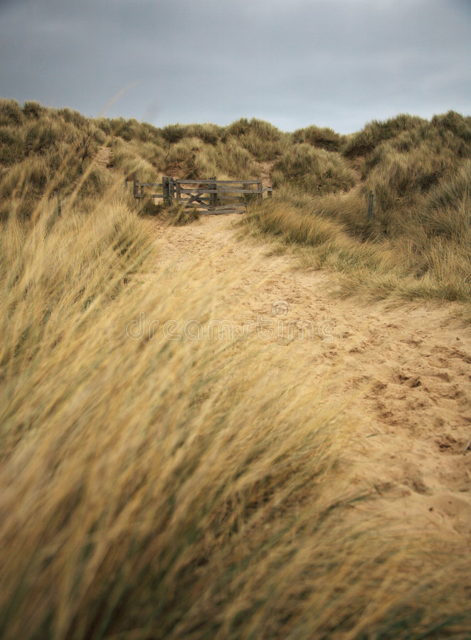 Het strandweg van Bamburgh stock fotografie