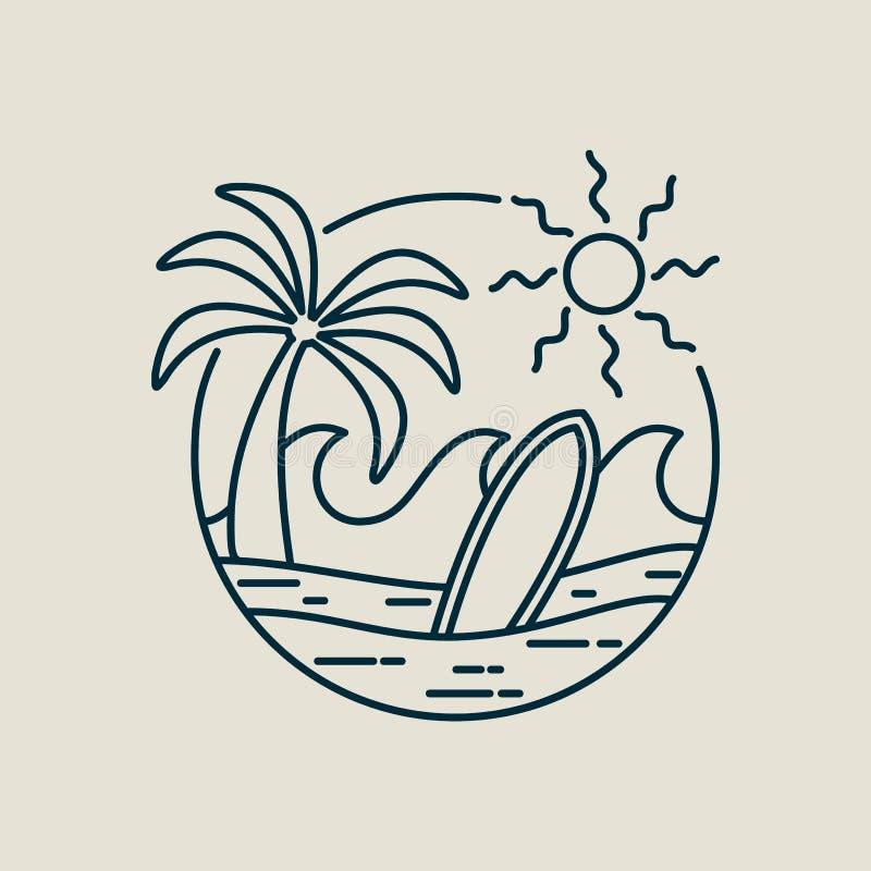 Download Het Strandzegel Van Het Surferparadijs In De Stijl Van De Lijnkunst Vector Illustratie - Illustratie bestaande uit lijn, zegel: 114226714