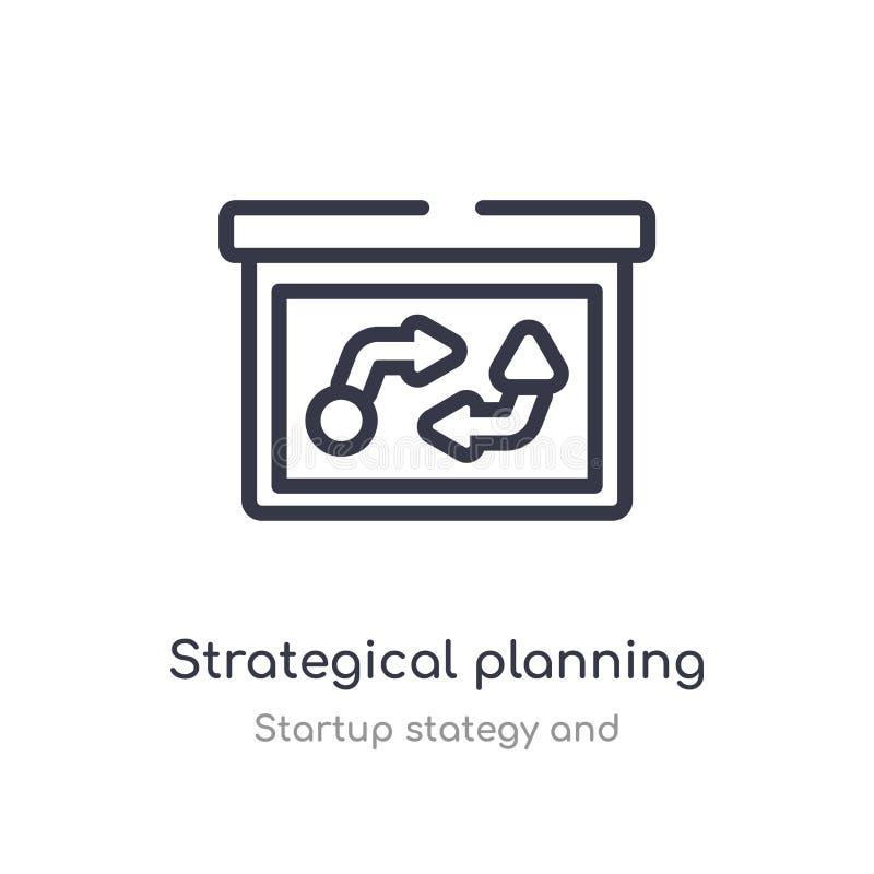 het strategische pictogram van het planningsoverzicht ge?soleerde lijn vectorillustratie van stategy opstarten en inzameling edit vector illustratie