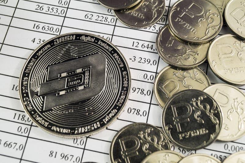 Het streepje is een moderne manier van uitwisseling en deze crypto munt royalty-vrije stock foto's