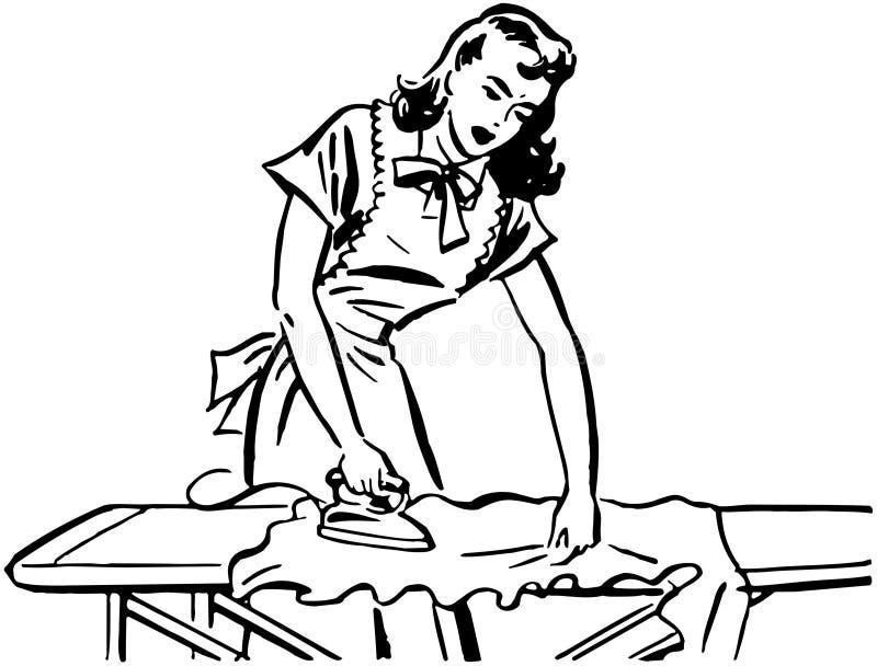Het strijken van de vrouw royalty-vrije illustratie