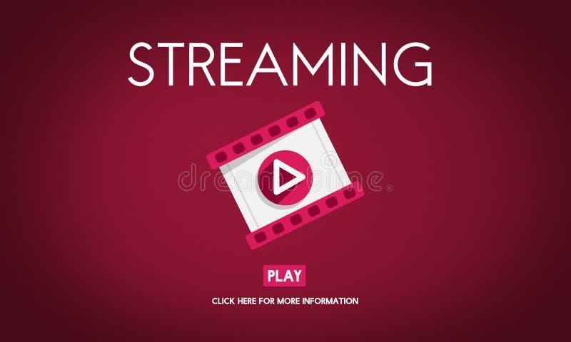 Het stromen Audio Video het Luisteren Concept Van verschillende media vector illustratie