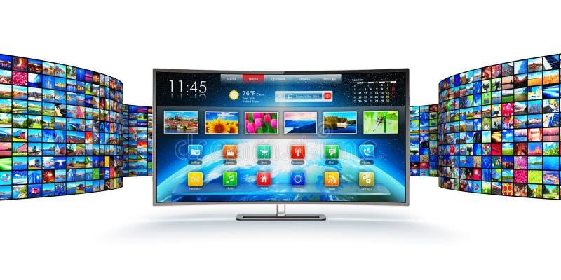 Het stromen media technologie en het concept van verschillende media stock illustratie