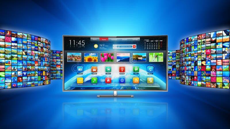 Het stromen media technologie en het concept van verschillende media vector illustratie