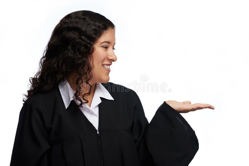 Het studentenmeisje kijkt op handpalm royalty-vrije stock afbeelding