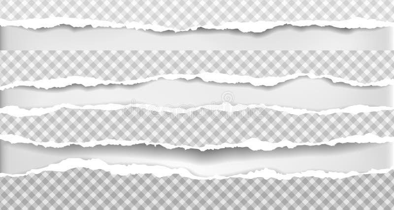 Het stuk gescheurde, geregelde document stroken met zachte schaduw is op grijze achtergrond Vector illustratie royalty-vrije illustratie