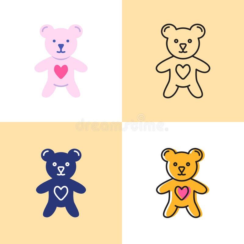 Het stuk speelgoed draagt met hartpictogram in vlakke en lijnstijlen die wordt geplaatst royalty-vrije illustratie
