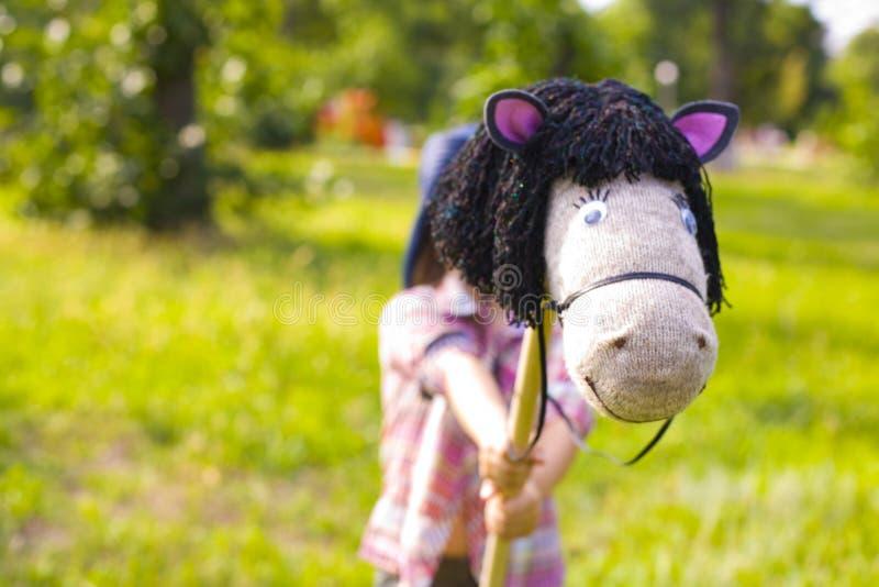 Het stuk speelgoed handcrafted paard op een stok stock afbeelding