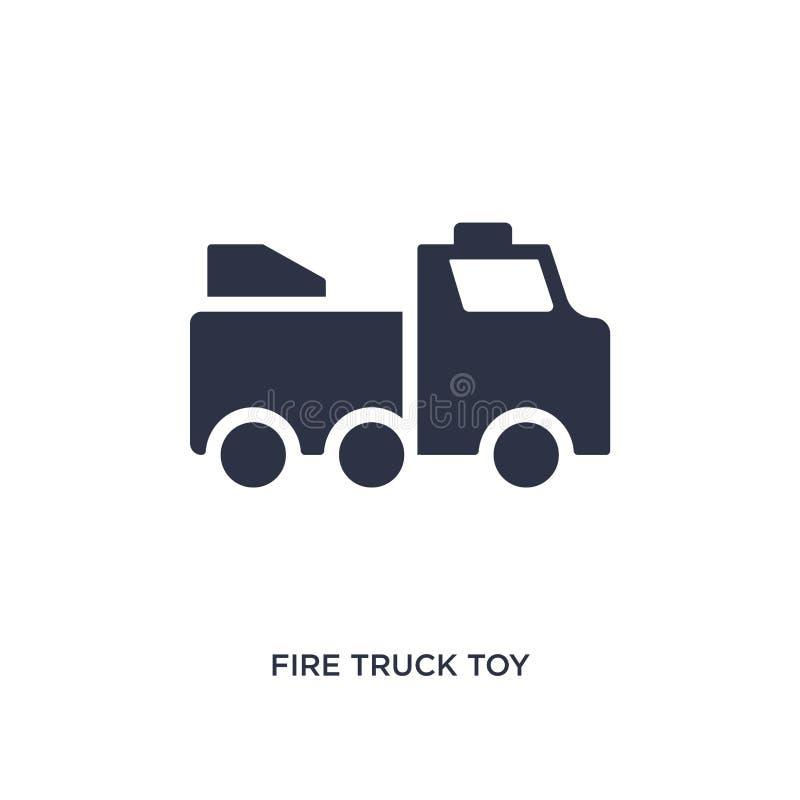 het stuk speelgoed van de brandvrachtwagen pictogram op witte achtergrond Eenvoudige elementenillustratie van speelgoedconcept stock illustratie