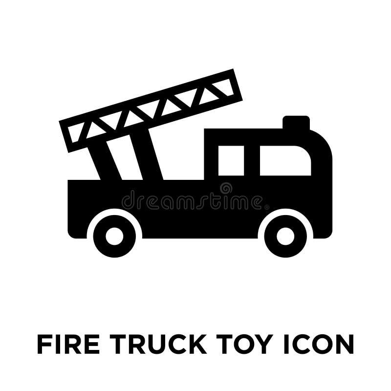 Het stuk speelgoed van de brandvrachtwagen pictogramvector op witte achtergrond, mede die embleem wordt geïsoleerd vector illustratie