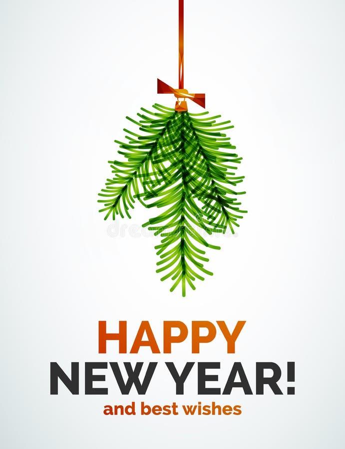 Het stuk speelgoed van de kerstboomtak, Nieuwjaarconcept royalty-vrije illustratie