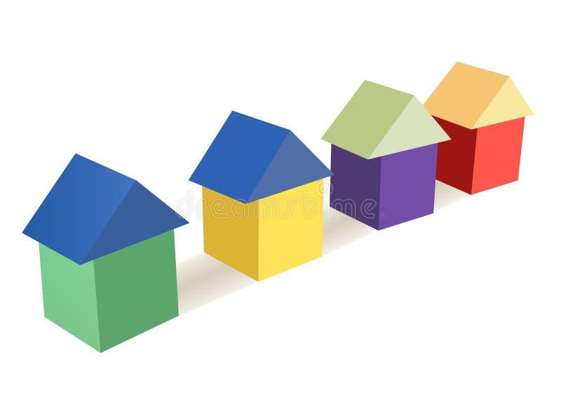 Het stuk speelgoed van de kleur kubeert huizenvector stock illustratie
