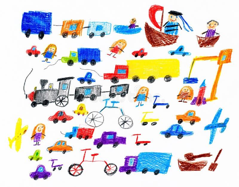 Het stuk speelgoed van het beeldverhaalspel en menseninzameling, kinderen die voorwerp trekken op document, hand getrokken kunstb stock illustratie