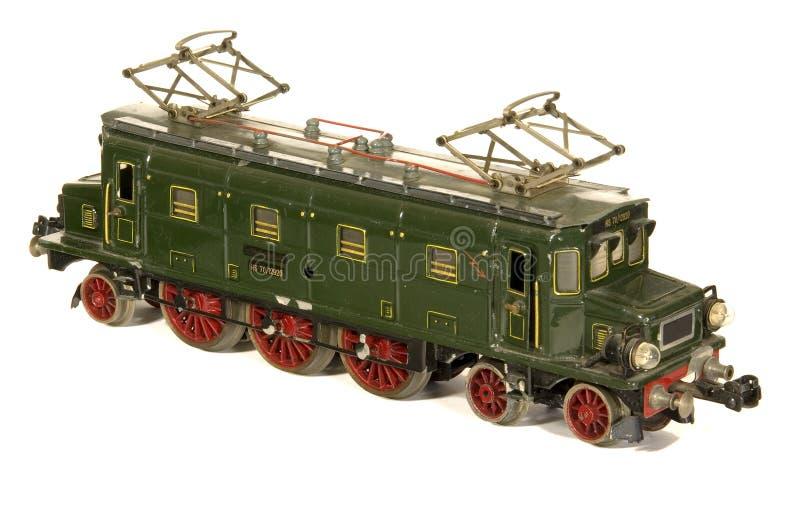 Het stuk speelgoed van het blik de Duitse locomotief van de jaren '30 modelspoorweg stock foto
