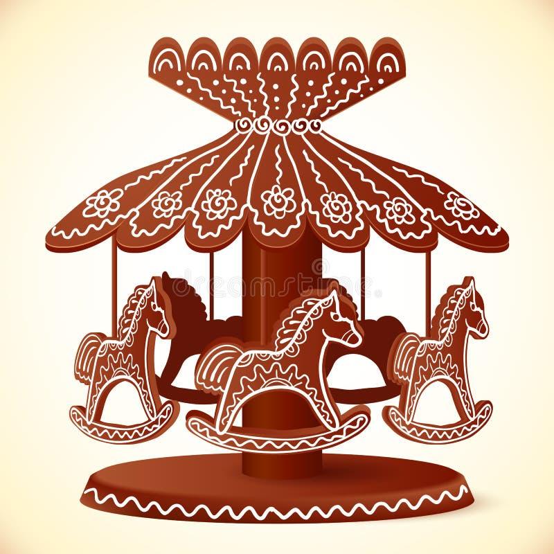 Het stuk speelgoed van Kerstmissnoepjes de carrousel van de paardenchocolade stock illustratie
