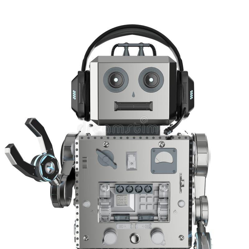 Het stuk speelgoed van het robottin met hoofdtelefoon royalty-vrije illustratie