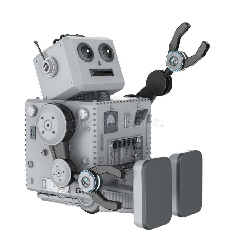 Het stuk speelgoed van het robottin ziet omhoog eruit royalty-vrije illustratie