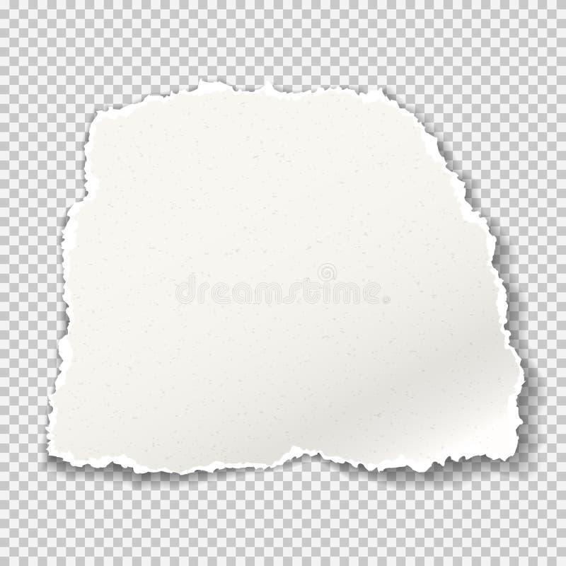 Het stuk van gescheurde korrelige document strook met zachte schaduw is op grijze geregelde achtergrond Vector illustratie stock illustratie