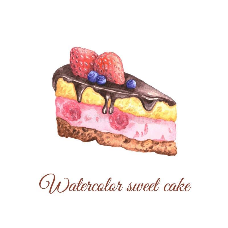 Het stuk van het waterverffruit van cake royalty-vrije illustratie