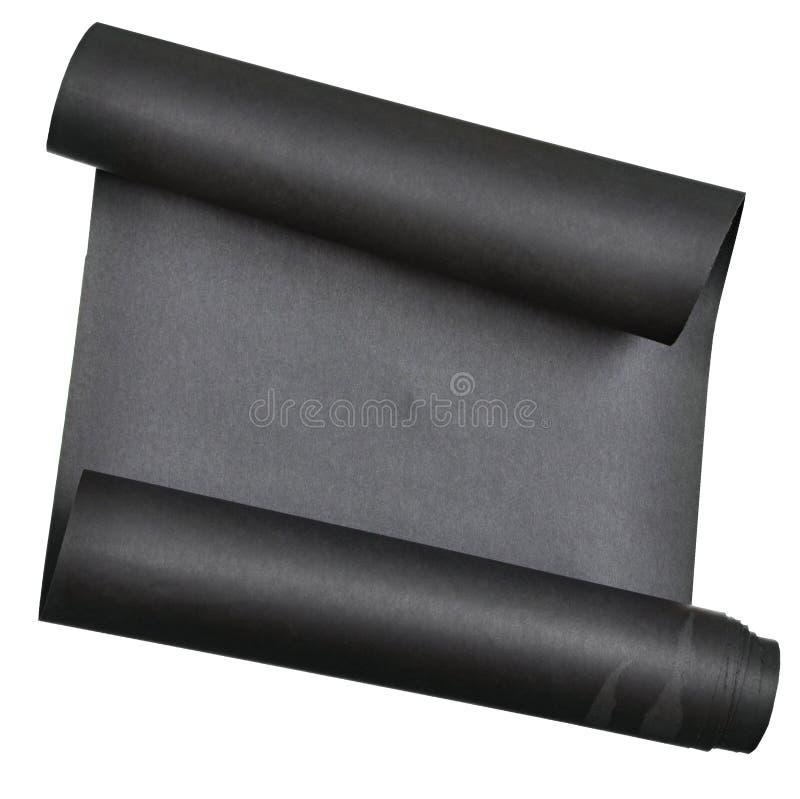 Het stuk van zwart die document rolde omhoog in broodje op witte achtergrond wordt geïsoleerd royalty-vrije stock afbeelding