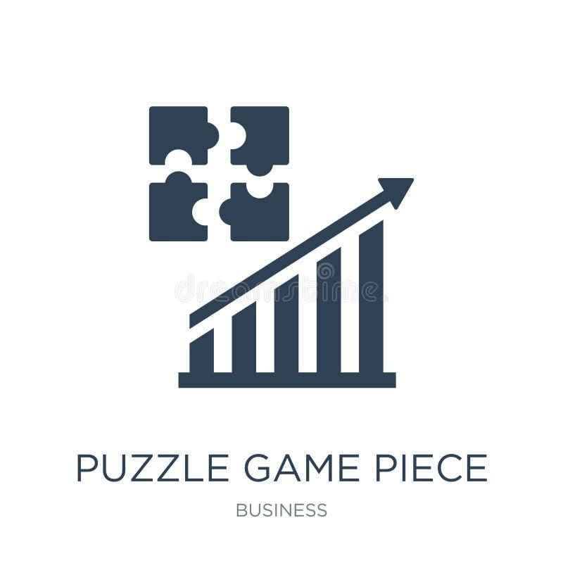 het stukpictogram van het raadselspel in in ontwerpstijl het stukpictogram van het raadselspel op witte achtergrond wordt geïsole stock illustratie
